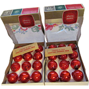 Shiny Brite Miniature Red Mercury Bulbs with Hangers and Boxes