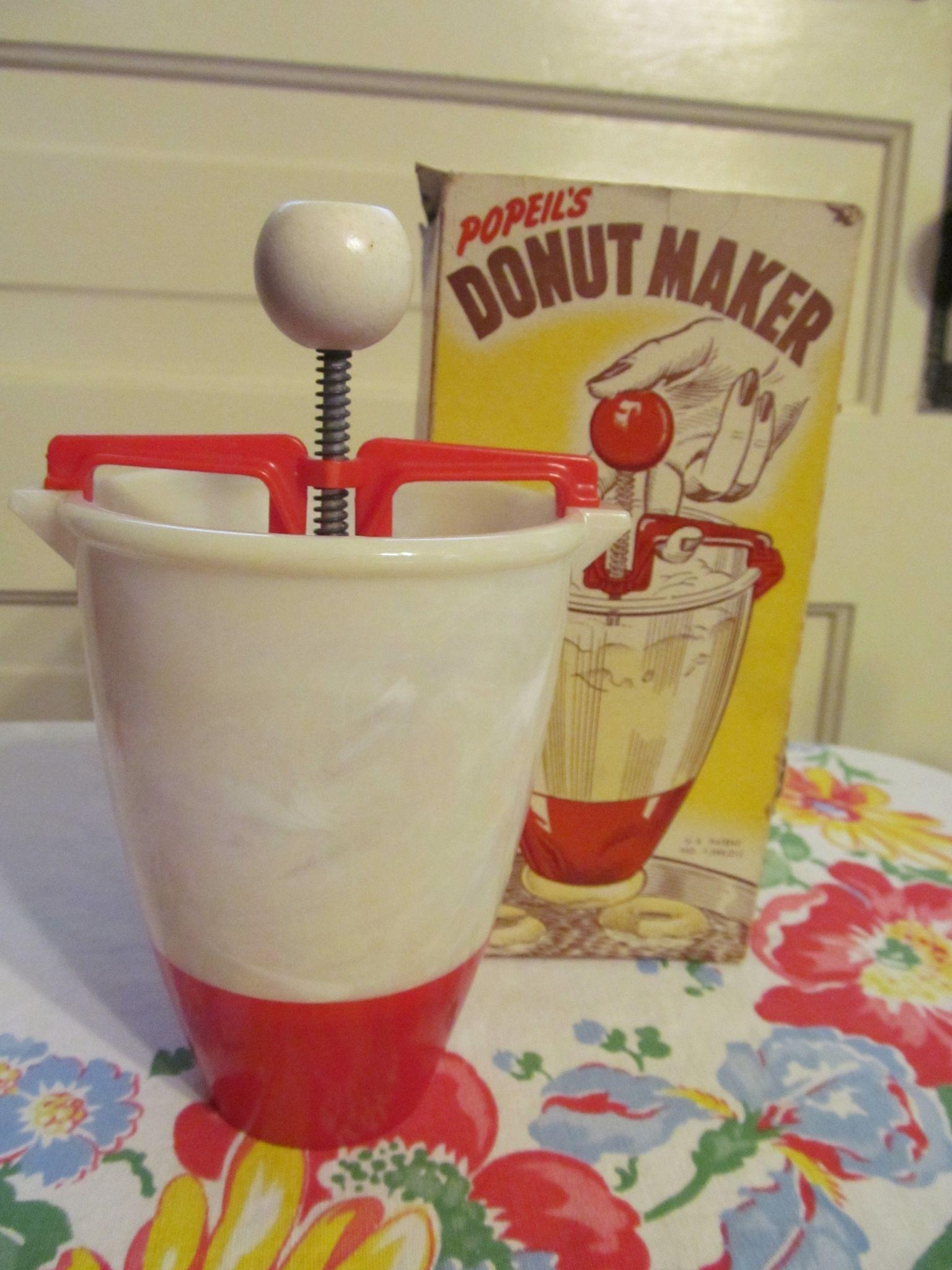 Red White Popeil's Donut Maker with Box