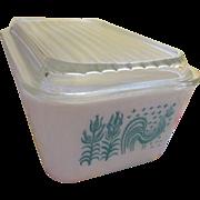 Pyrex Amish Butterprint Turquoise Design 1 1/2 Pint #502 Refrigerator Dish