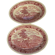 Adams Staffordshire England English Scene Mulberry Platter and Vegetable Bowl
