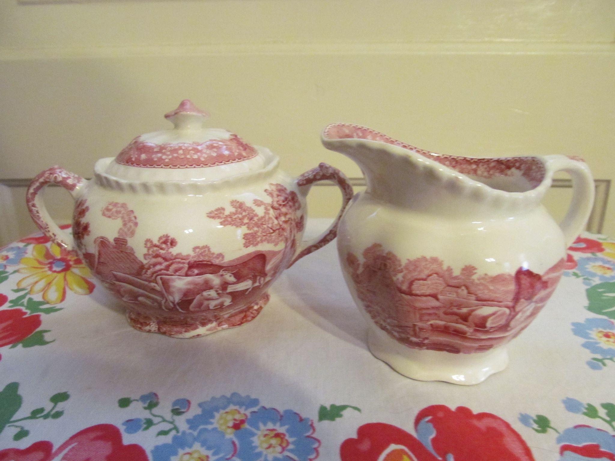 Adams Staffordshire England English Scene Mulberry Creamer and Sugar Set