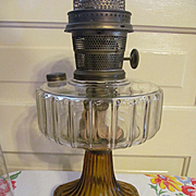 Aladdin Corinthian Amber Base Kerosene Oil Table Lamp with Chimney