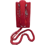 Red Northern Telecom Rotary Wall Telephone Phone