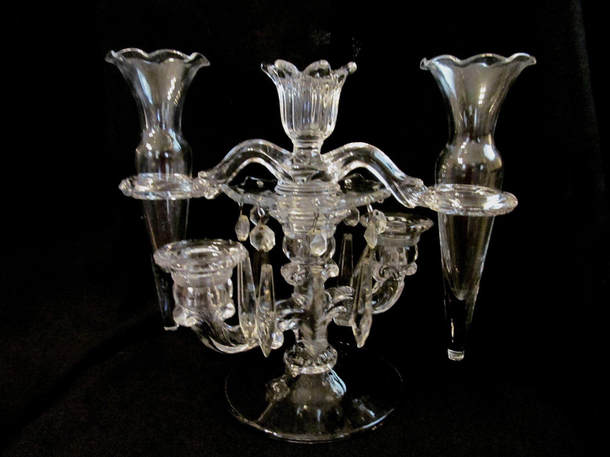 Cambridge Candelabra Epergne with Peg Vases, Bobeches and Prisms