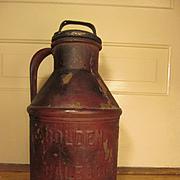 "Golden Cream Dairy 14 1/2"" Metal Cream Can, Galesburg Illinois"