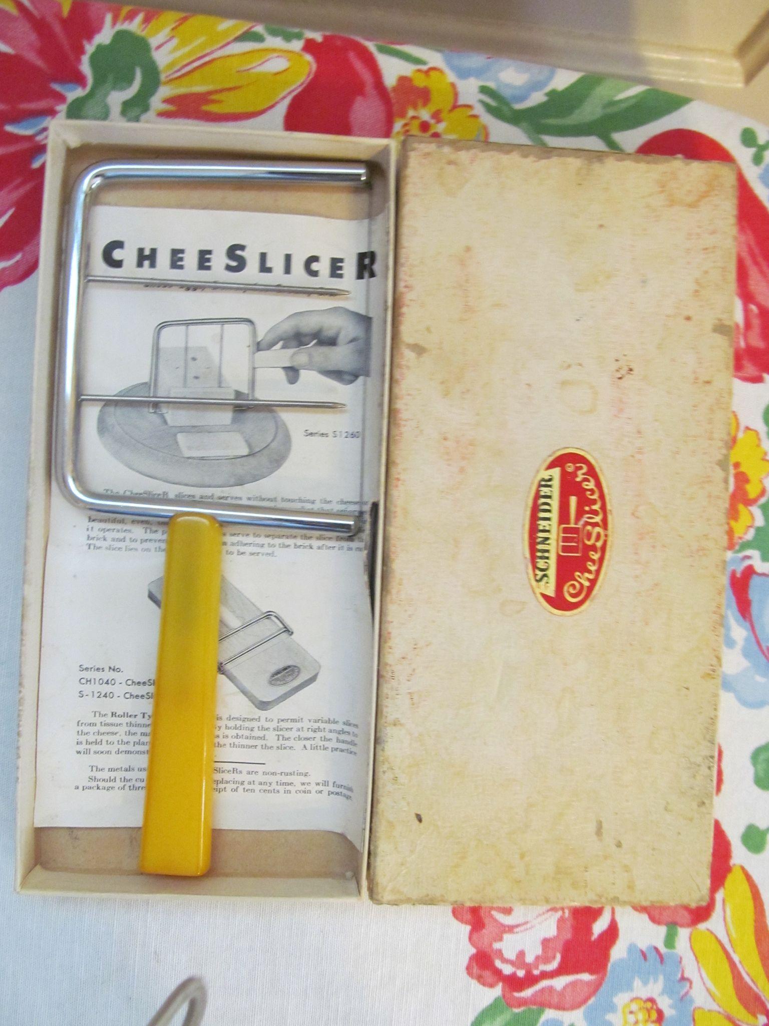 Yellow Bakelite Schmeider Cheese, Egg, Butter Slicer with brochure & Box