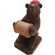 Black Forest Bear Thread Spool Holder and Pincushion Sewing Stand