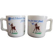 Two Child Children Prayer Picture Mugs by Anchor Hocking