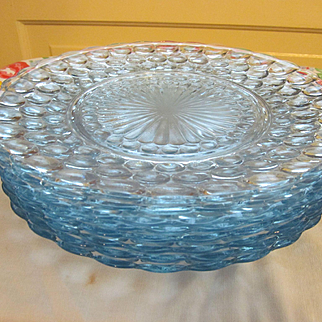 Eight Blue Bubble Dinner Plates by Anchor Hocking
