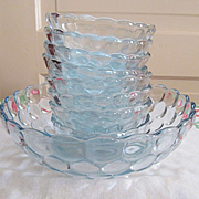 Blue Bubble Berry Fruit Bowl Set with 8 Small Bowls by Anchor Hocking