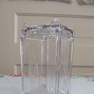 EAPG Post aka Square Panes Pickle Castor Jar by Adams & Co