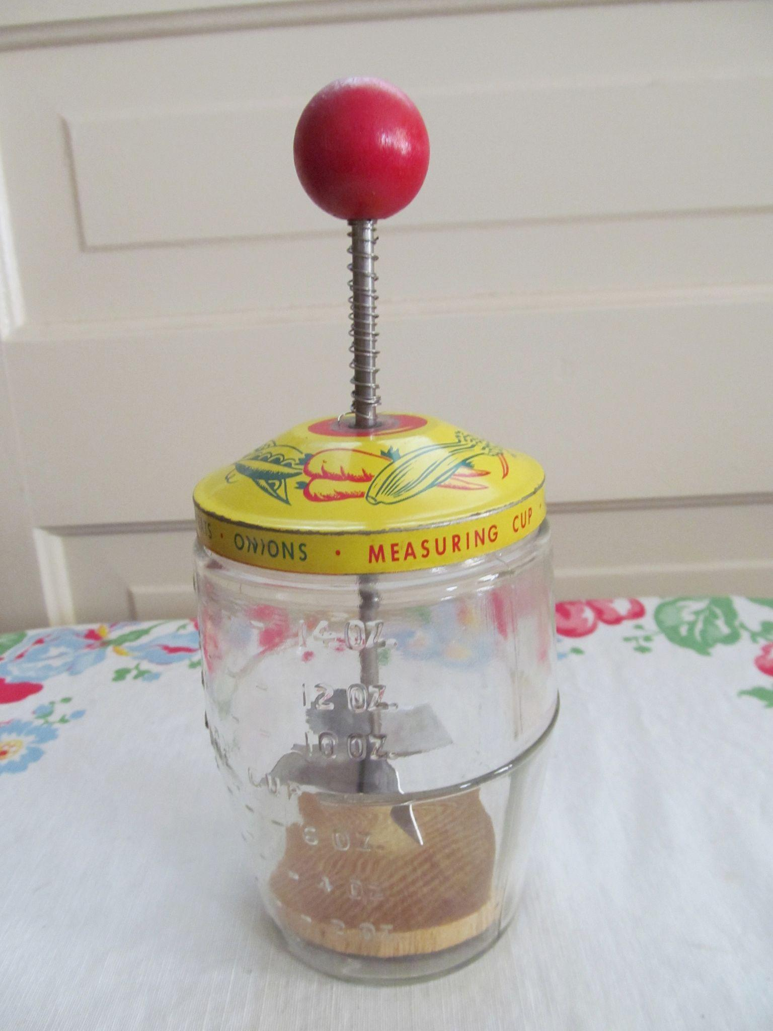 Glass Jar Food Chopper, Measuring Cup with Red Wood Knob