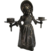 Sweet Girl Candholder Spelter Figurine