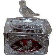 Holbauer Byrdes Byrds Ruby Flashed Ring Trinket Box