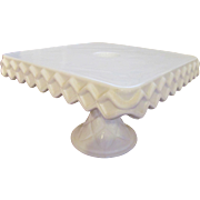 "Milk Glass 10"" Cake Stand with Rum Well and Diamond Pattern by Indiana Glass Co"