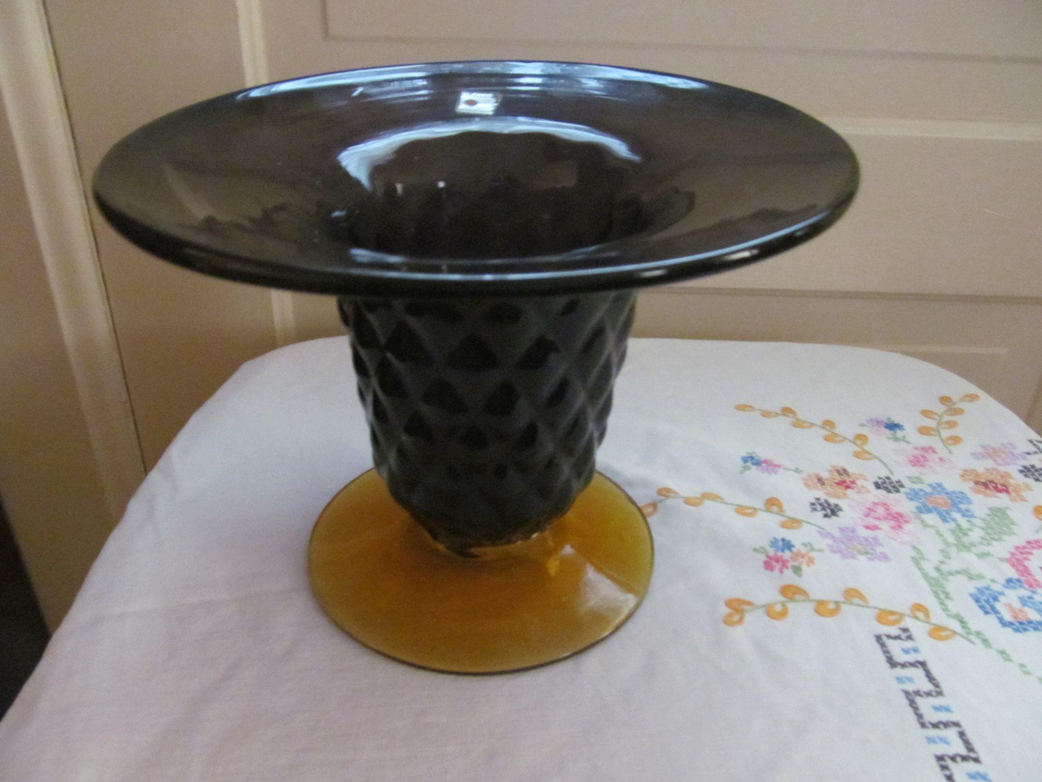Blenko Centerpiece Console Bowl Vase with Label