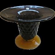 Blenko Centerpiece Console Bowl Vase with Label