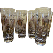 Eight Mid Century Starburst Sunburst Spuknic Tom Collins Ice Tea Barware Glasses