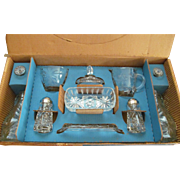 EAPC Early American Precut Star of David Eleven Piece Table Set with Box by Anchor Hocking