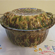 Yellow Ware Spatter Covered Baking Dish