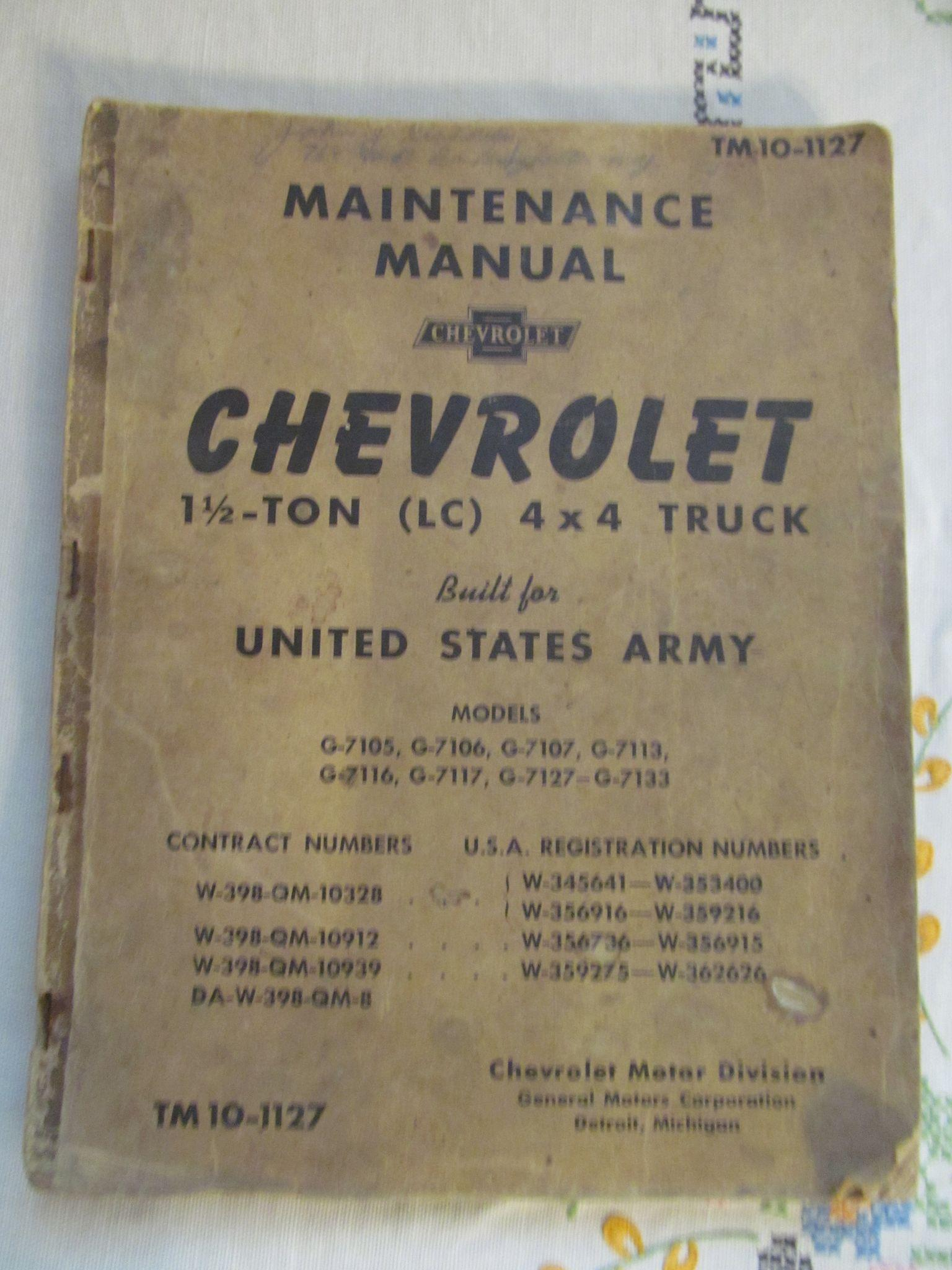 1941 Chevrolet Maintenance Manual for 4 X 4 Trucks Built for United States Army