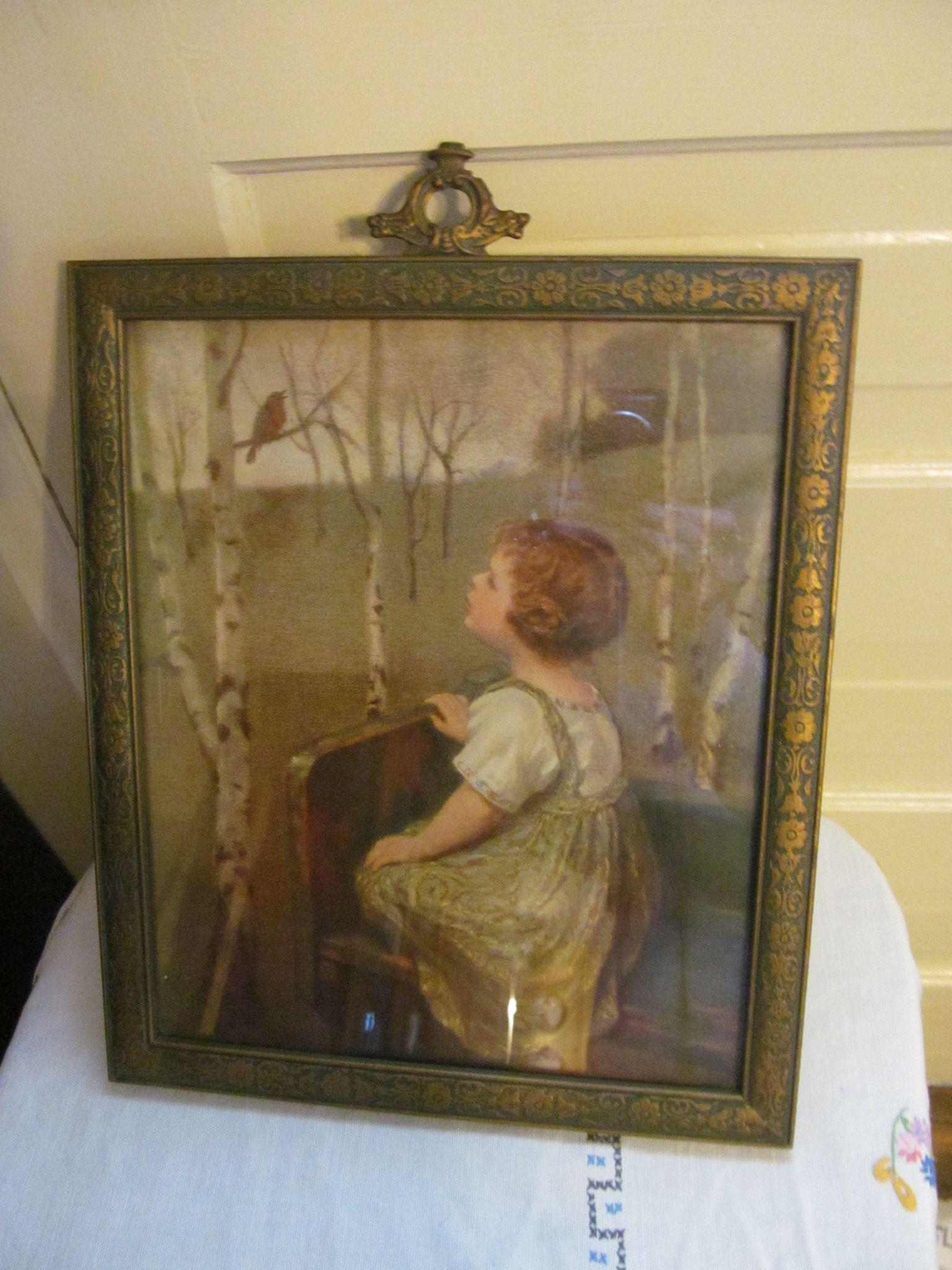 Spring Song Print with Original 1920's Ornate Frame, Girl and Robin