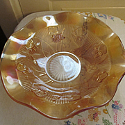 "Marigold Iris and Herringbone 11.5""  Ruffled Bowl by Jeannette Glass Company"
