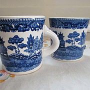 Two Blue Willow Thick Mugs, Japan