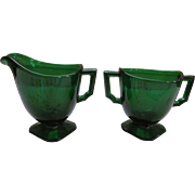 Fostoria Mayfair Dark Green Depression Creamer and Sugar