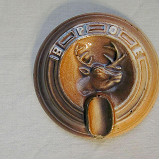 Elks BPOE Fraternal Advertising Ashtray by Monmouth Western Stoneware