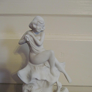 Bisque Draped Nude Lady Figurine, Japan
