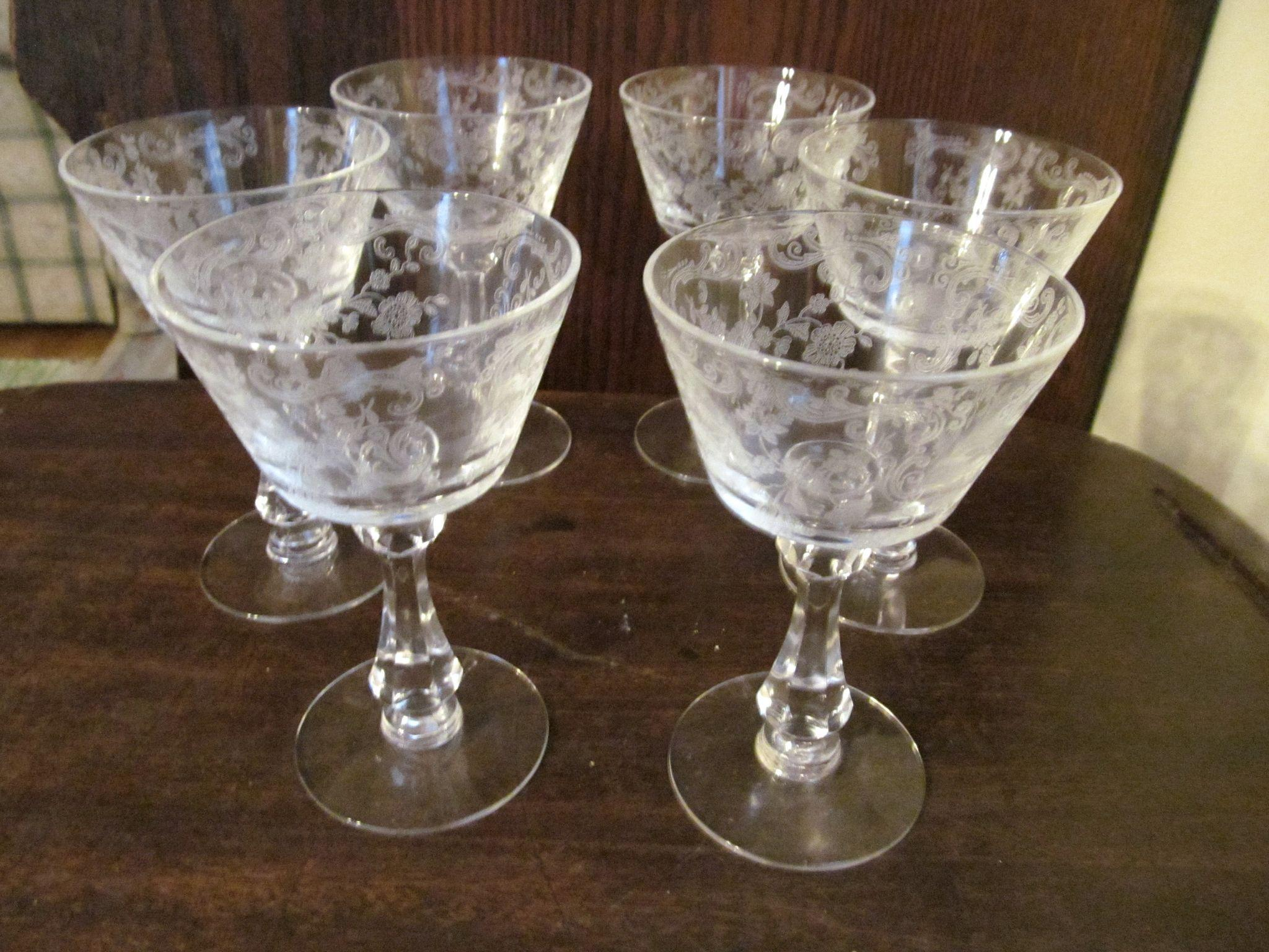 Six Cambridge Chantilly 2oz Goblets Stems