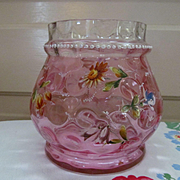 Victorian Cranberry Thumbprint Enameled Jar