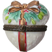 Opaque Milk Glass Puffy Christmas Heart Box, Holly Berries