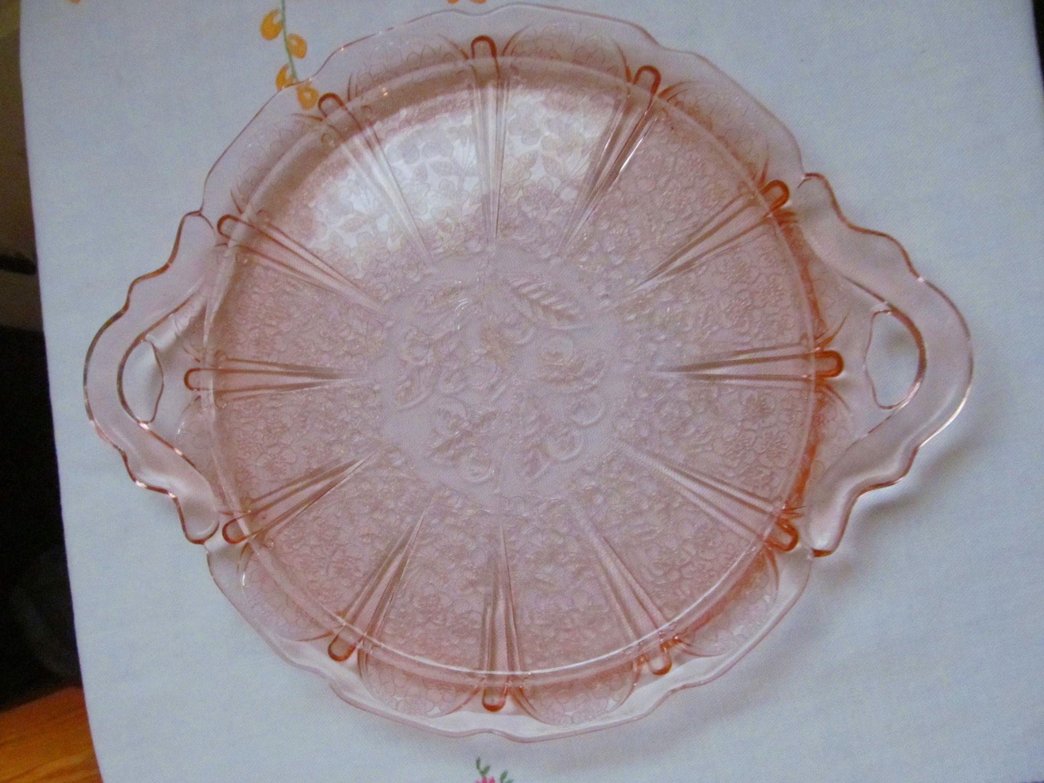 Pink Cherry Blossom Platter Tray by Jeannette Glass Company