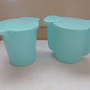 Turquoise Tupperware Creamer and Sugar Set
