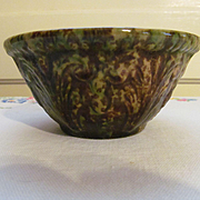 "Yellow Ware 5"" Spongeware Spatterware Mixing Bowl with Acanthus Pattern"