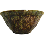 "Yellow Ware 5"" Spongeware Spatterware Mixing Bowl with Acanthus Pattern"