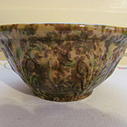 "Yellow Ware Spatterware Spongeware  6""  Mixing Bowl with Acanthus Pattern"