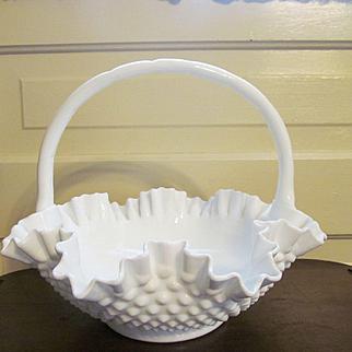 "Fenton Hobnail 12""  Milk Glass Basket, Ruffled with Double Crimp"