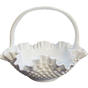 "Fenton Hobnail 12""  Milk Glass Basket, Ruffled with Double Crimp"