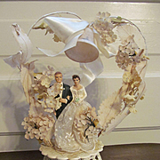 "1950's Bride and Groom 9"" Wedding Cake Topper, Plaster & Plastic"