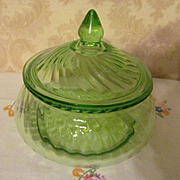 Imperial Twisted Optic Green Depression Candy Dish