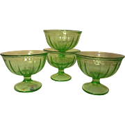 Four Colonial Fluted Rope Green Depression Sherbets by the Federal Glass Company