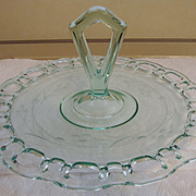 Green Open Lace Edge Etched Handled Tray