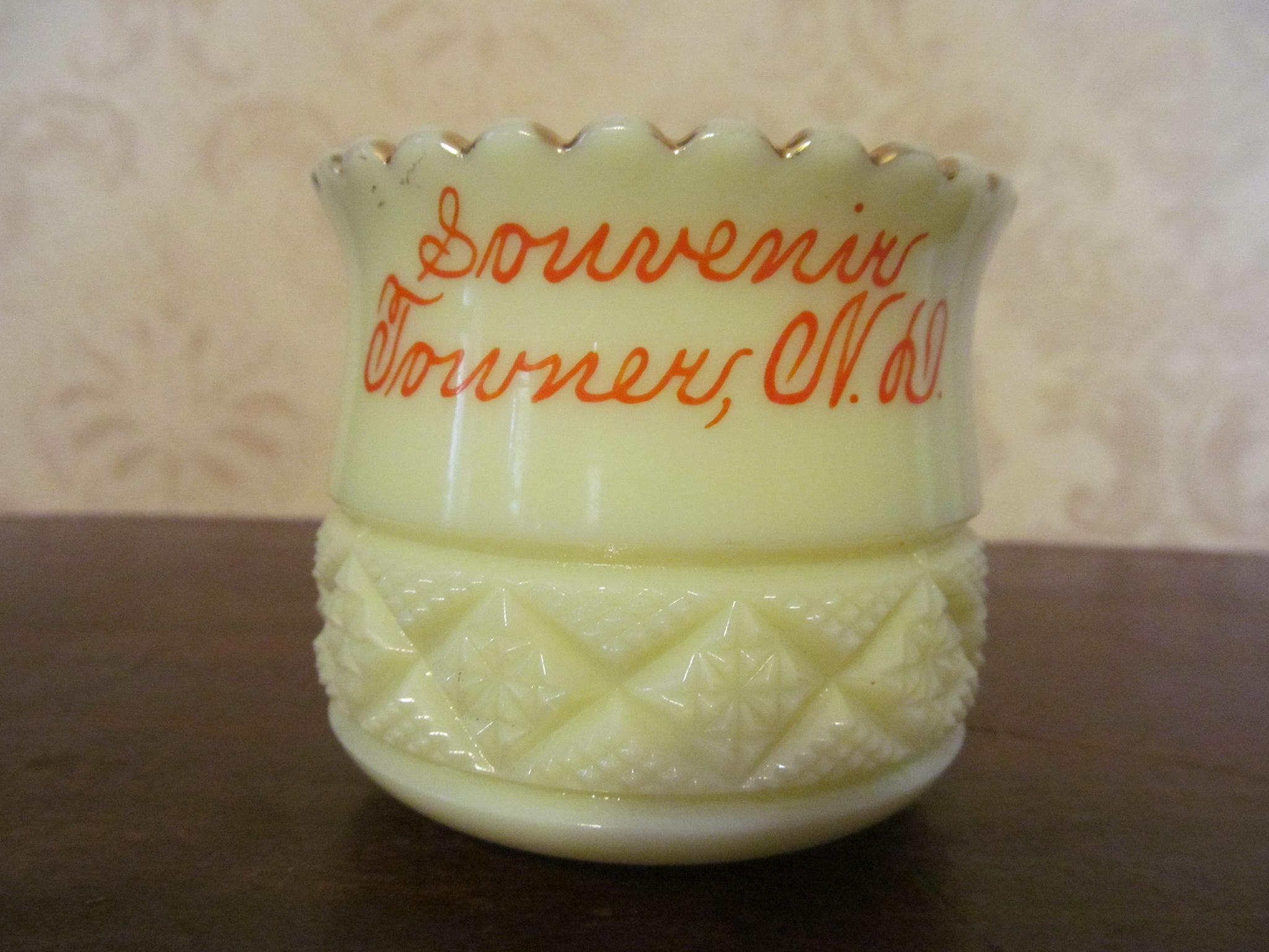 Heisey Custard Towner North Dakota Cut Block Souvenir Toothpick Holder