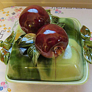 California Original Mid Century Apple Fruit Covered Dish, Artist Signed
