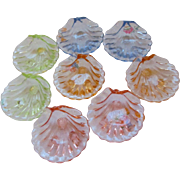 Cambridge Caprice Eight Piece Shell Salts Nut Dish Set, Four Colors