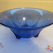 "Hazel Atlas Royal Lace Cobalt Blue 10"" Footed Fruit Bowl"