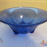 "Hazel Atlas Royal Lace Cobalt Blue 10"" Footed Fruit Bowl"
